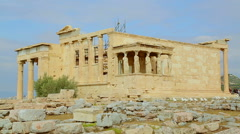 Ancient Greek temple Erechtheion, Acropolis in Athens, Ionic architecture style Stock Footage