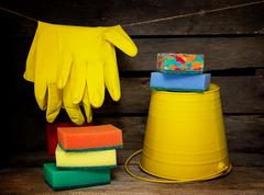 Household items for cleaning Stock Photos