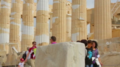Stock Video Footage of People with children travel, view ancient columns, remains of Parthenon temple