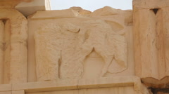 Sculptured decoration of metope detail on Parthenon frieze, ancient temple Stock Footage