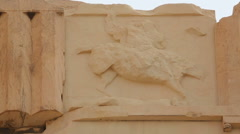 Remains of relief showing horseman, decoration on frieze of ancient Parthenon Stock Footage