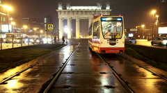 Triumphal arch. Street with trams and cars. Stock Footage