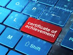 Education concept: Certificate of Achievement on computer keyboard background - stock illustration