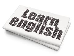 Stock Illustration of Studying concept: Learn English on Blank Newspaper background