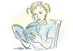 girl reading - stock illustration