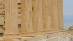 Stock Video Footage of Huge marble colonnade of Erechtheion in Athens, remains of ancient building