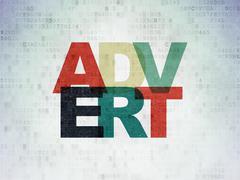 Advertising concept: Advert on Digital Paper background - stock illustration