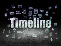 Time concept: Timeline in grunge dark room Stock Illustration