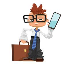 Little schoolboy like businessman with business case, phone, glasses - stock illustration
