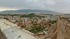 Amazing view from Acropolis on Athens, beautiful cityscape of Greek capital city Stock Footage