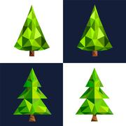 Stock Illustration of Christmas tree flat 3d lowpoly pixel art icon