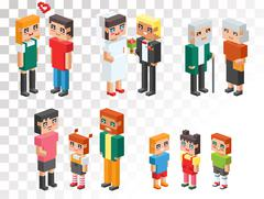 Stock Illustration of Isometric family couples love hearts