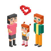 Isometric family couples love hearts Stock Illustration