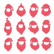 Portrait Santa Claus coloreful face icons silhouette Stock Illustration