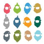 Portrait Santa Claus coloreful face icons silhouette - stock illustration