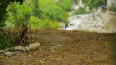 Many tourists walking by remains of Agora of Athens, ancient gathering place - stock footage