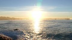 Ventura Pier Sunrise Surfer Stock Footage