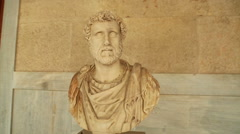 Marble bust of Antoninus Pius at Agora history museum, outstanding Roman emperor Stock Footage