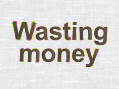 Stock Illustration of Money concept: Wasting Money on fabric texture background
