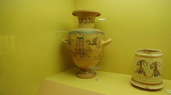Antique ceramic amphora decorated with bird ornament, ancient Greek pottery Stock Footage