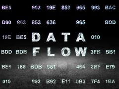 Data concept: Data Flow in grunge dark room - stock illustration