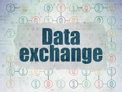 Information concept: Data Exchange on Digital Paper background - stock illustration