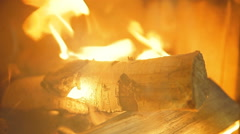 Fireplace with burning fire - stock footage