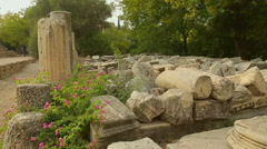 Huge marble stones decaying on archaeological excavation site, lack of funding Stock Footage