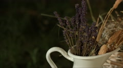 Dried lavander in cup night Stock Footage