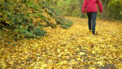 Female walking up forest hill path covered in fall leaves 4k Stock Footage