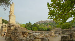 Antique sites of Athens, ancient ruins of Agora, cultural heritage conservation Stock Footage
