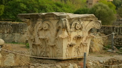 Remains of column capital decorated with sophisticated moulding, architecture Stock Footage