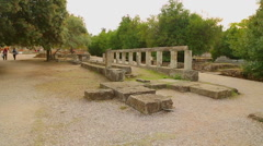 Remains of ancient Altar of Zeus found during Agora archaeological excavations Stock Footage