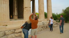 Male tourist taking picture of ancient building on smartphone, vacation memories Stock Footage