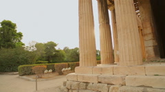 Amateur video of ancient Hephaestus Temple shot by tourist on summer vacation Stock Footage