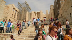 Stock Video Footage of Crowd of travellers viewing ruins of Parthenon temple, place of tourist interest