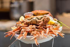 Seafood assortment dish Stock Photos
