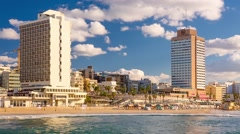 View On Tel Aviv Beach At Sunset - Pan Right Stock Footage
