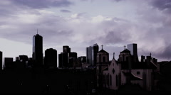 Denver Skyline with Church Silhouette Dark Stock Footage