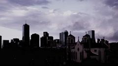 Denver Skyline with Church Silhouette Dark - stock footage