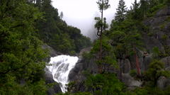 Yosemite Waterfall in mist and fog Stock Footage