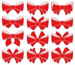 Plain red bow - stock illustration