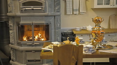 The kitchen, in the kitchen there is a fireplace-stove and a samovar Stock Footage