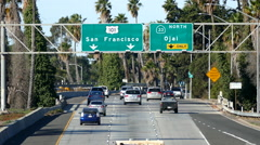 San Francisco 101 Freeway Sign with Traffic Stock Footage