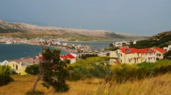 Pag is largest town on the island in Croatia Stock Footage