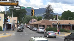 Busy street Taos, New Mexico. Stock Footage