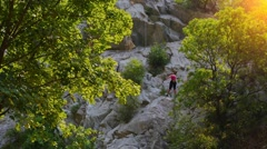 Climber in Velika Paklenica, Croatia Stock Footage