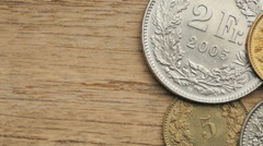 Swiss Franc Coins Stock Footage