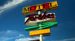 Retro Motel Sign Route 66 California cloud time lapse Stock Footage