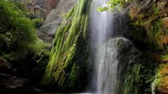Malibu Canyon Waterfall mossy overgrowth slow motion Stock Footage